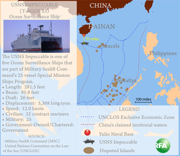 Map showing naval incident between US and China. Graphic: RFA