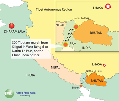 Map of the route from Siliguri in West Bengal to the Nathu-La pass. Graphic: RFA