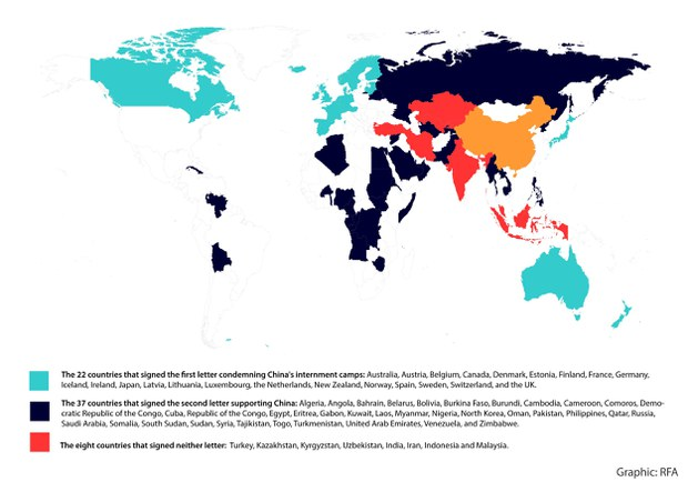 Map of Countries that Condemned or Defended China's Mass Detention of Uyghurs