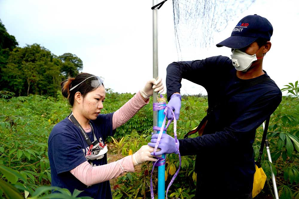 """Researchers set up a mist net to capture bats near Chhngauk Hill. """"We want to find out whether the virus is still there and ... to know how the virus has evolved,"""" Dr. Veasna Duong, IPC's head of virology, told Reuters. (Reuters)"""