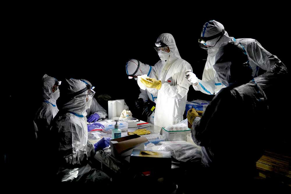 Researchers prepare to collect samples from the bats. (Reuters)
