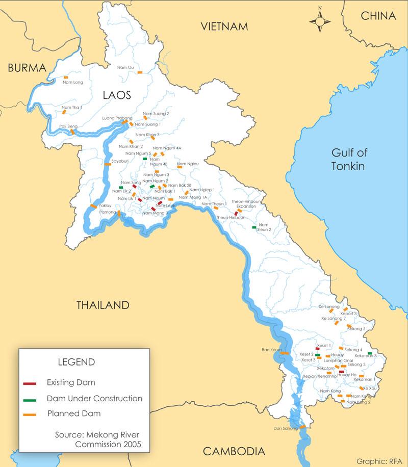 Laos: Map Of Dams In Laos