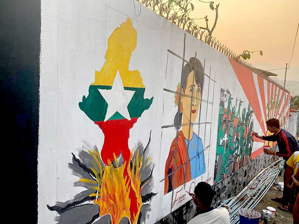 Aung San Suu Kyi appears again in this mural in Mogok in the Mandalay region. (RFA)