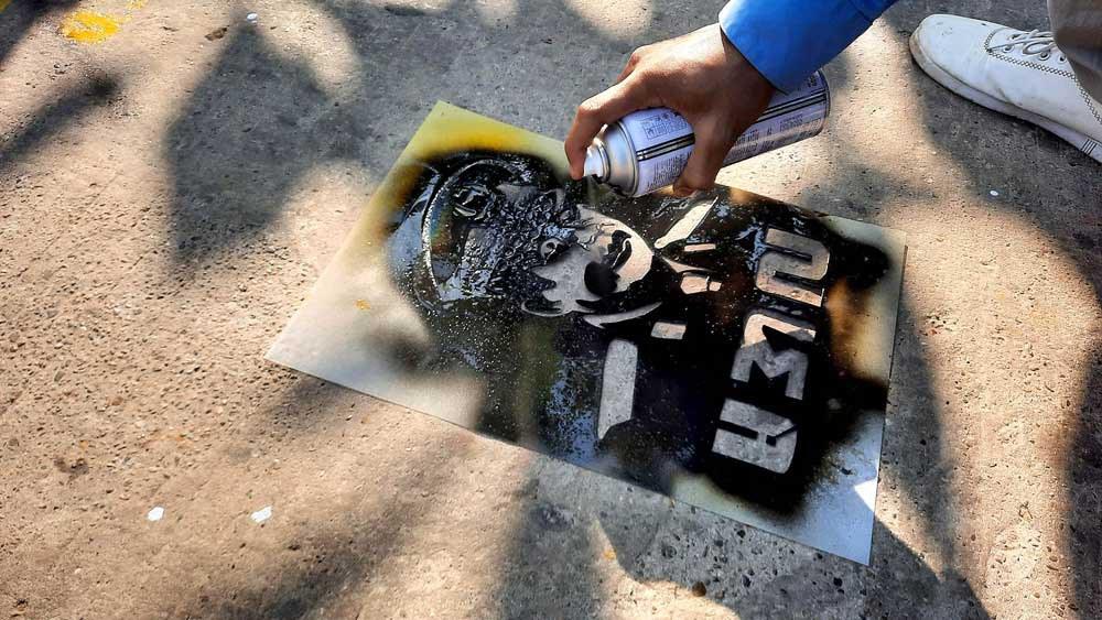 Coup leader Gen. Min Aung Hlaing's image often pops up in the protesters' art. (RFA)