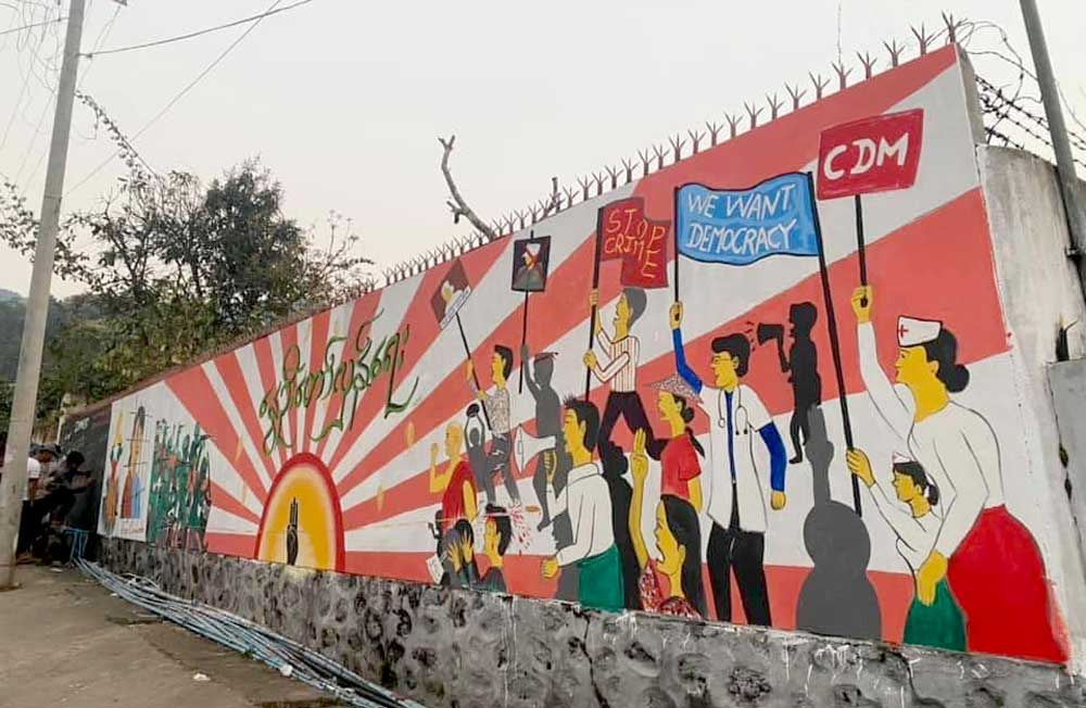 A mural in Mogok in the Mandalay region makes clear the demands of the anti-coup movement. (RFA)