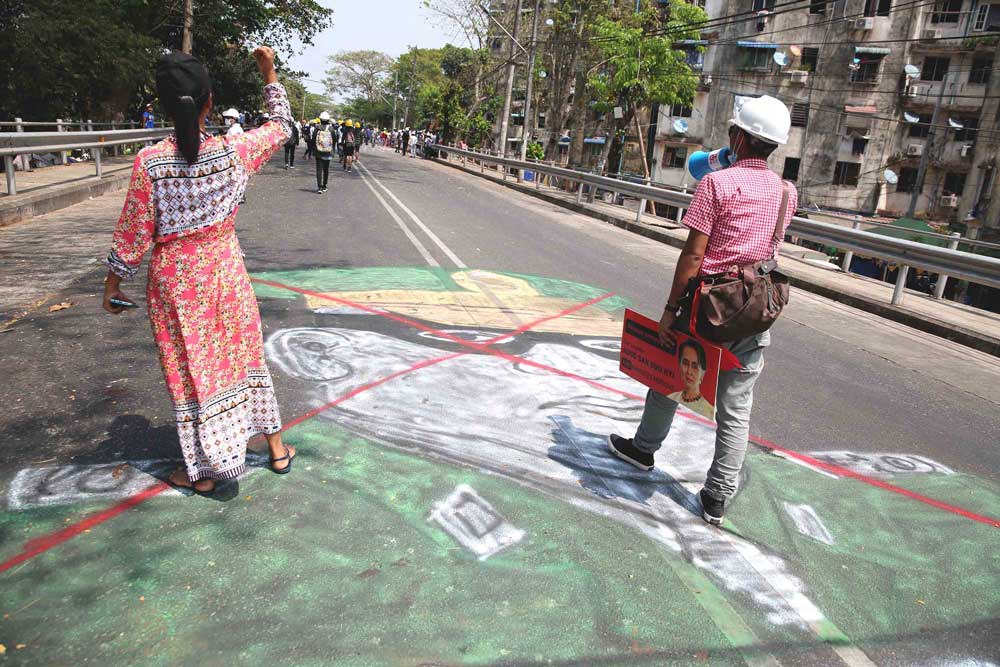 Coup leader Gen. Min Aung Hlaing's gets a different street treatment in Hledan Junction, Yangon. (RFA)