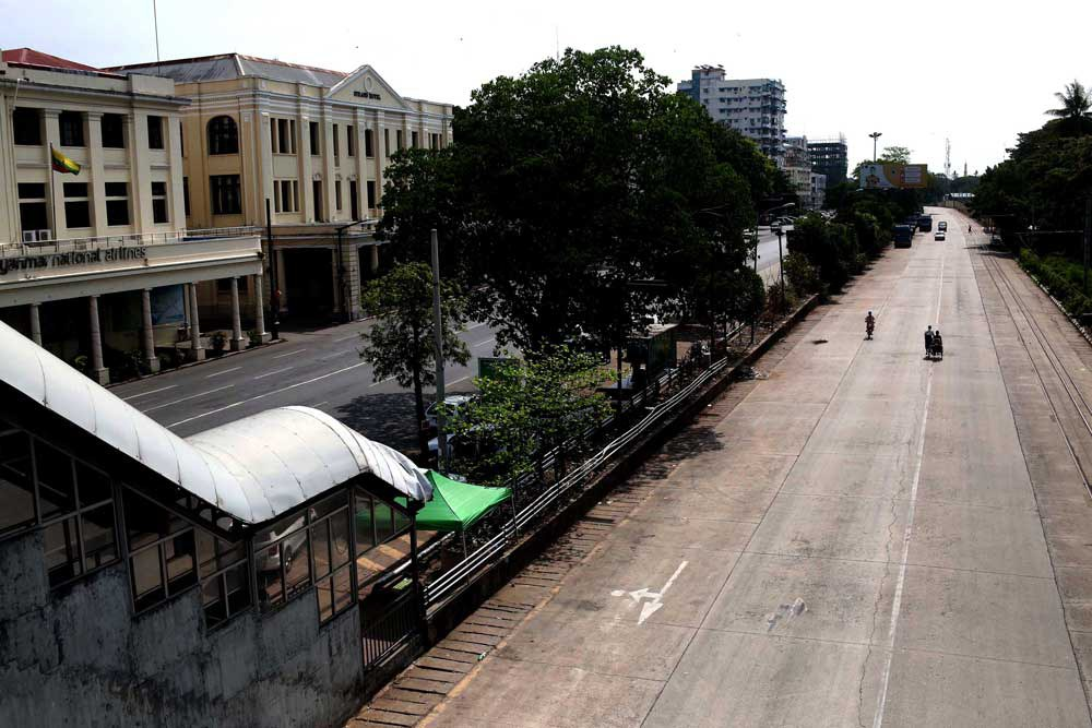 "The streets of Yangon were virtually deserted Friday as protesters held a ""Silent Strike"" to mourn the more than 700 people killed by the military since the coup began. (RFA)"