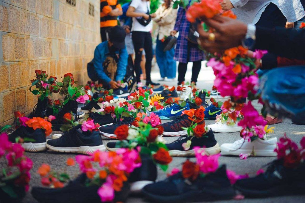 The event was not confined to Yangon, as evidenced by these shoes in Taunggyi, Shan State (RFA)