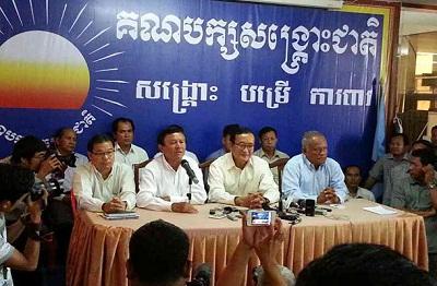 CNRP leaders and representatives speak to reporters in Phnom Penh, June 9, 2014. Photo credit: RFA.