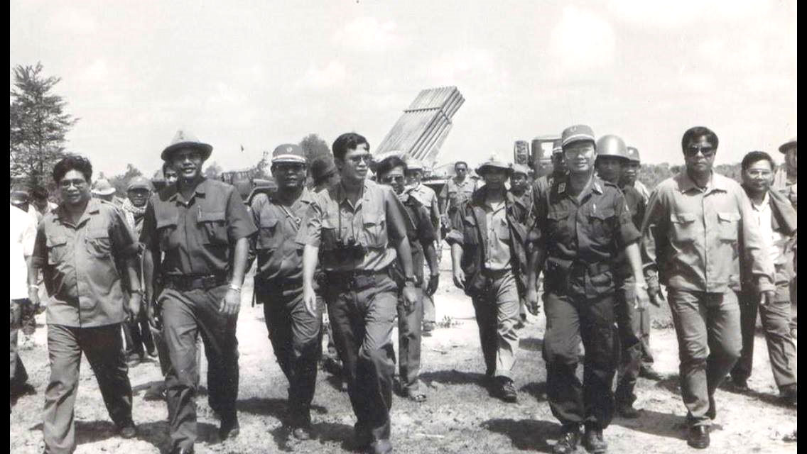 An undated, archive photo from Pol Saroeun's Facebook page shows him (third from the left) pictured alongside Prime Minister Hun Sen (fourth from the left).