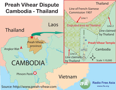 The clash occurred in a disputed area surrounding Preah Vihear Temple. RFA