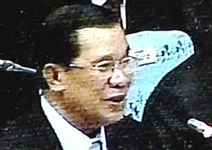 Hun Sen speaks to the National Assembly in a screengrab from Cambodian television, Aug. 9, 2012.