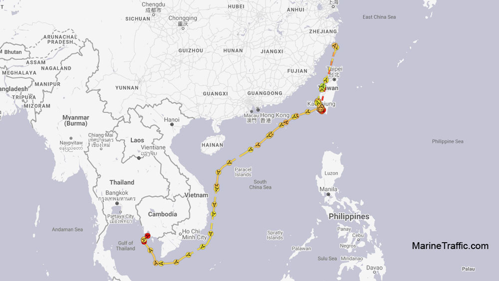 A reconstruction of the path taken by the tanker ship MT Courageous over the past year before it was seized by Cambodian authorities at the port of Sihanoukville on Feb. 28. Cambodia police have said the Courageous encroached on Cambodian waters and is suspected of violating U.N. resolutions for transferring cargo with North Korean ships. The vessel passed by the coast of China's Zhejiang province on Sept 4, 2019. It can also be seen entering and exiting the Taiwanese port of Kaoshsiung around Dec 15. It was finally seized off the southern coast of Cambodia and taken to Sihanoukville.