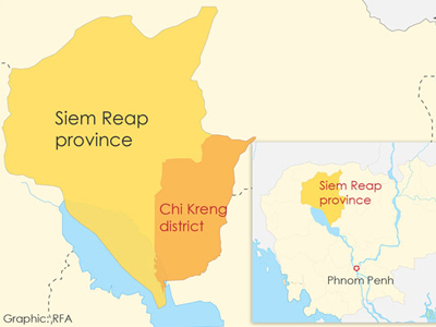 The map shows Chi Kreng district in northern Cambodia's Siem Reap province.