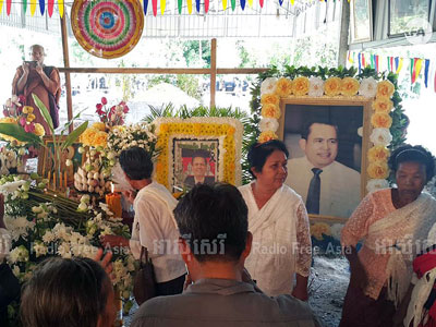 Cambodians commemorate political commentator Kem Ley on the first anniversary of his death at a ceremony in Ang Takob village in Leay Bo commune, Tram Kak district,  southwestern Cambodia's Takeo province, July 9, 2017.