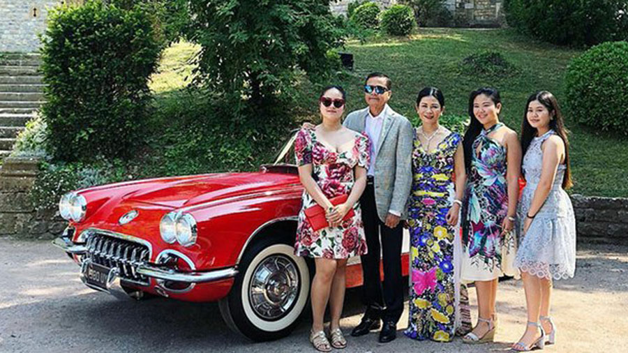 Cambodian National Police Commissioner Neth Savoeun, Hun Kimleng and their three daughters, in Cannes, France.