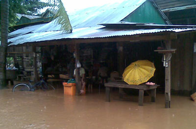 Flooding in Ratanakiri province, Aug. 4, 2014. Credit: RFA