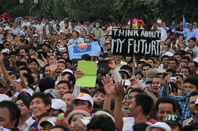CNRP supporters rally in Phnom Penh's Freedom Park, Aug. 26, 2013. Photo credit: RFA.