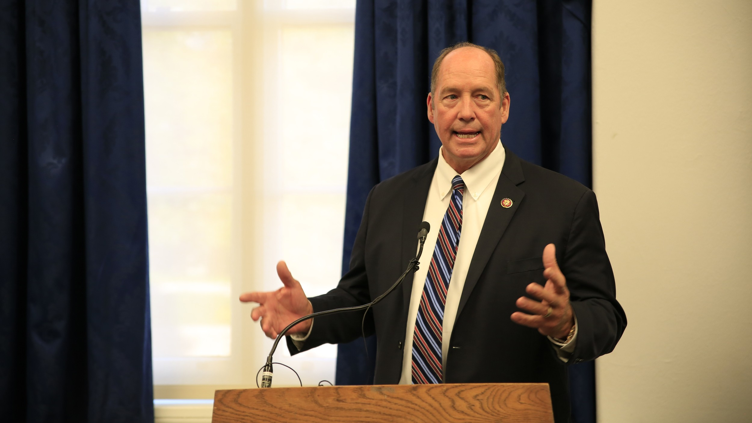 US Representative Ted Yoho delivers remarks at a hearing of the Congressional Cambodia Caucus to commemorate the 1991 Paris Peace Accords in Washington, Oct. 21, 2019.