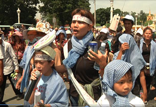 Yorm Bopha participates in a land protest in an undated photo.