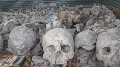 Human remains are gathered for a Buddhist ceremony at a mass grave site in Siem Reap province, Aug. 7, 2012. Credit: RFA