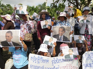 Protesters affected by land disputes gather in front of the U.S. embassy in Phnom Penh on Nov. 12, 2012 to petition President Barack Obama to press Cambodia on human rights.