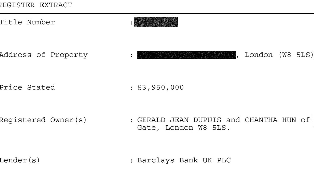 Details from the property title for Chantha and Dupuis' $5 million London apartment.