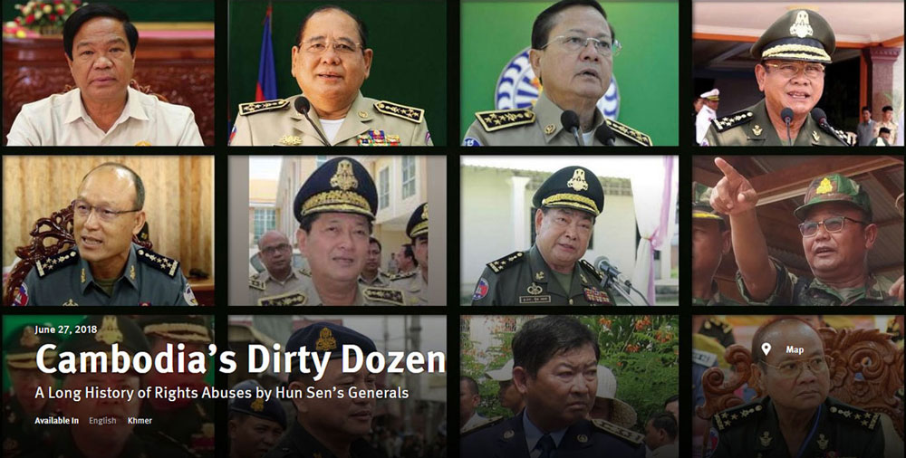 "Savoeun was among 12 senior Cambodian military and police officials termed the country's ""Dirty Dozen"" for egregious rights abuses in a 2018 report by Human Rights Watch."