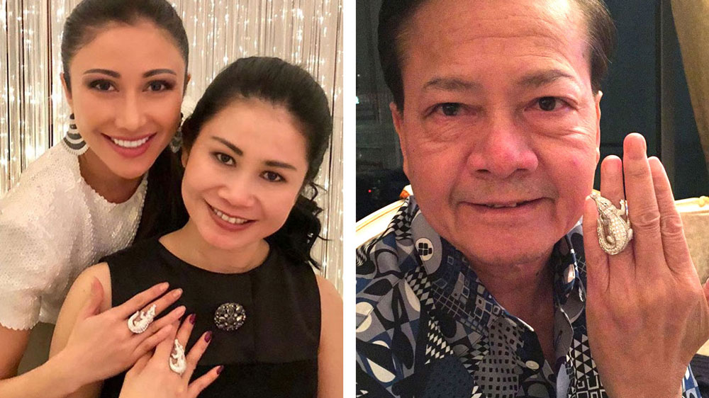 LEFT: Hun Kimleng (R) and her younger sister Hun Chantha show off their rings in a photo posted by Chantha on Instagram in January 2018 with the hashtag #welovecrocodiles. RIGHT: Neth Savoeun sporting a similar style of crocodile ring in a photo leaked in 2017.