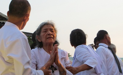 Ieng Thirith at her husband's cremation ceremony, March 21, 2013. Photo credit: RFA.
