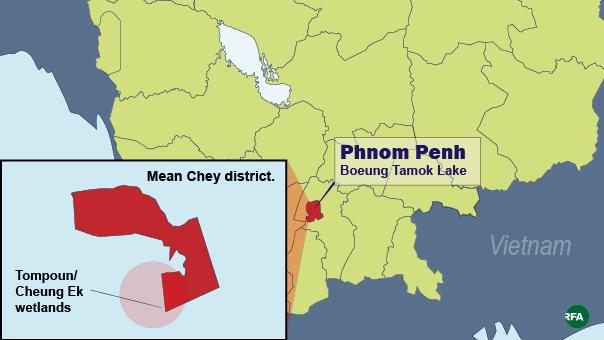 A map shows Phnom Penh's Boeung Tamok Lake and the Tompoun/Cheung Ek Wetlands.