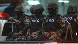 Masked Troops Patrol Area around Cambodia National Rescue Party Headquarters
