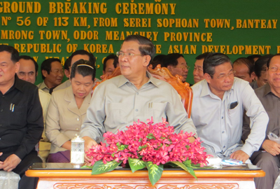 Hun Sen makes his first public appearance following the commune elections, June 7, 2012. Credit: RFA