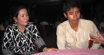 Chut Wutty's widow, Sam Chanthy, and his son, Chhoeuy Odomraksmey, speak with RFA, April 28, 2012.