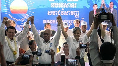 From left to right, Kem Sokha, Pol Ham, Mu Sochua, and Eng Chhay Eang at an extraordinary congress in Phnom Penh, March 2, 2017. Credit: RFA