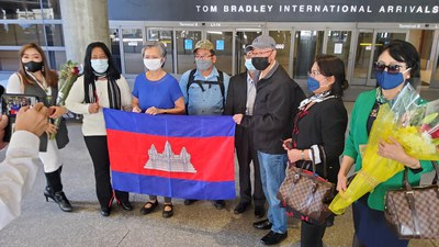 CNRP Deputy President Mu Sochua (C) and fellow party leaders at Los Angeles Airport, Jan. 16, 2021.