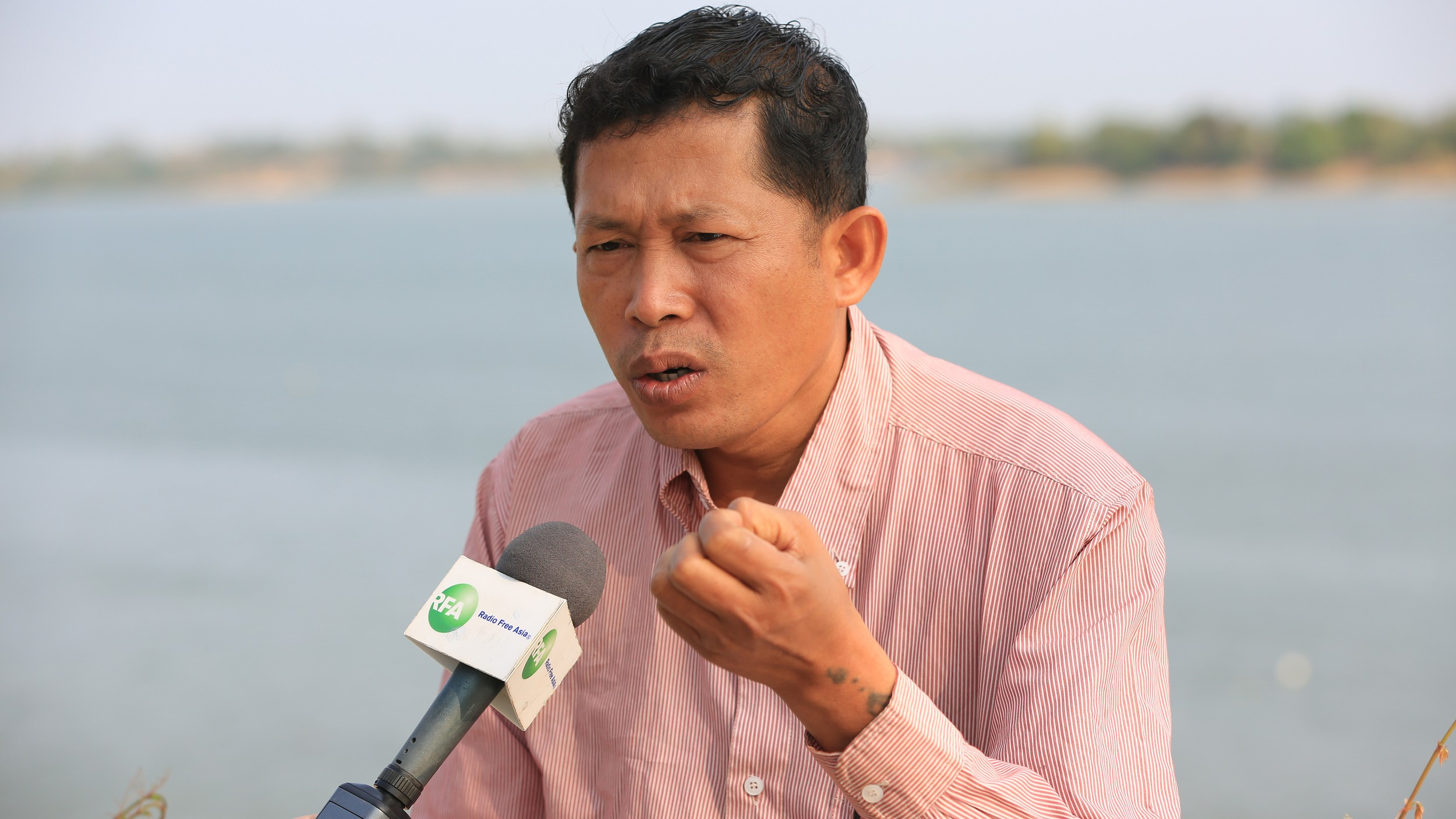 Siek Mekong speaks to RFA's Khmer Service during an interview in Steung Treng province, March 26, 2016.