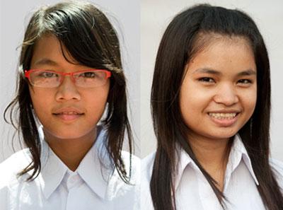 Chen Sokha (L) and Oun Sreyna (R). Photo appears courtesy of A New Day Cambodia