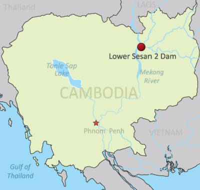A map showing the Lower Sesan 2 dam in Cambodia. Credit: RFA.