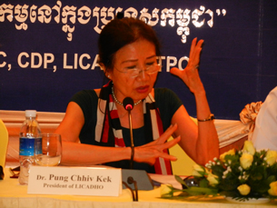 Licadho President Pung Chhiv Kek speaks in Phnom Penh, June 26, 2012.