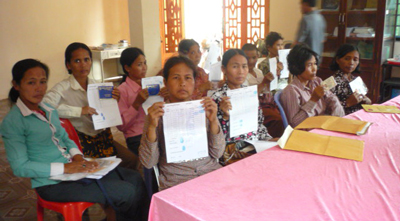 Family members of missing Cambodian workers in Kompong Chhnang, Feb. 7, 2012.