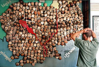 A map made from the skulls of Khmer Rouge victims at the Cambodian genocide museum in Phnom Penh, Oct. 13, 2001. Credit: AFP