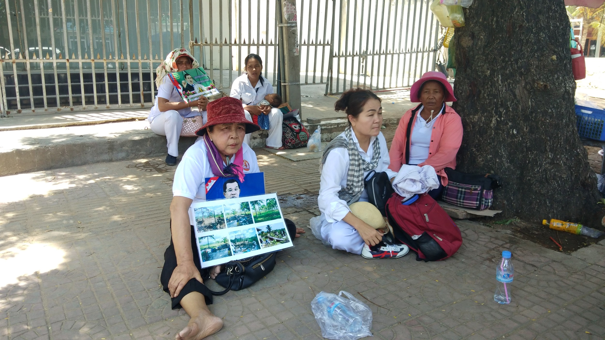 Villagers in a land dispute with UDG protest in front of Beijing's embassy in Phnom Penh, Cambodia, July 8, 2019.