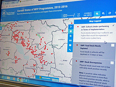 WFP Cambodia's real-time monitoring and evaluation system displays data on underperforming schools and food stocks on an interactive map, Dec. 12, 2016.