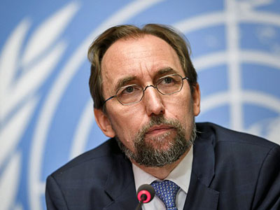 United Nations human rights commissioner Zeid Ra'ad Al Hussein looks on during a press conference at the UN offices in Geneva, Switzerland, Aug. 30, 2017.