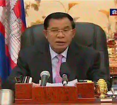 Hun Sen urges the nation to remain calm ahead of the ICJ ruling on the Preah Vihear temple site, Nov. 7, 2013. Screenshot courtesy of TVK