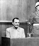 Hermann Goering during his trial at Nuremberg. Goering, 53, was the most prominent man in the Nazi regime after Hitler. Charged with the four categories of offenses including crimes against humanity, he was condemned to death but comitted suicide before the sentence could be carried out. Photo: AFP