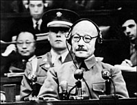 Japanese General Hideki Tojo, who was prime minister from 1941 to 1944, during his trial for war crimes following the end of World War II. Photo: AFP