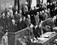 The International Military Tribunal in Tokyo, where Japanese general Hideki Tojo (5th from L, 2nd row) is accused of war crimes. Tojo, prime minister from 1941-44, was hanged in 1948. Photo: AFP