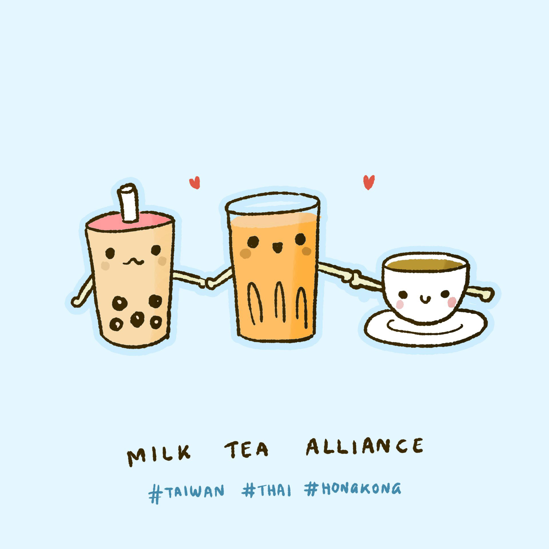 Internet meme that describes Milk Tea Alliance of activists in Thailand, Hong Kong and Taiwan challenging China and other authoritarian regimes.